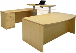 Electric Lift Adjustable Bridge Maple U-Desk