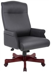 Rolled Arm Black Leather Conference Chair