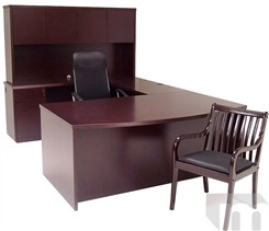 Mahogany Veneer Conference U-Shaped Desk
