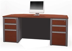 Metro Bow Front Desk w/4 Box Drawers & 2 File Drawers