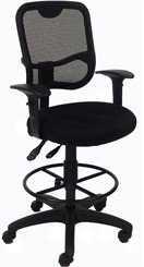 "Mesh Back Ergonomic Drafting Stool w/ 23-1/2"" to 28"" Seat Height"