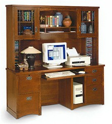 Mission Computer Credenza With Hutch