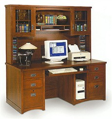 Mission Deluxe Computer Desk With Hutch