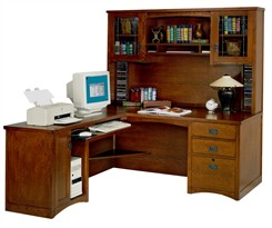 Mission Computer L-Desk with Hutch, Left Return