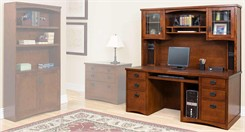 Mission Style Furniture - Mission Deluxe Computer Desk with Hutch