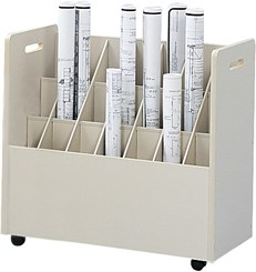 """Mobile Roll File Series -- 30""""W File w/ 21 Tubes"""