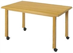 Mobile Solid Oak Straight Leg Tables - 42&quot; D Round Table