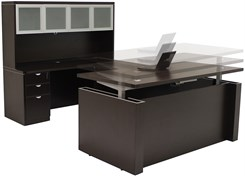 Adjustable Height U-Shaped Executive Office Desk in Mocha