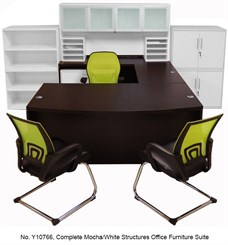 Complete Mocha/White Structures Office Furniture Suite