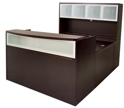 Mocha U-Shaped Reception Desk w/Frosted Glass Panel & Hutch