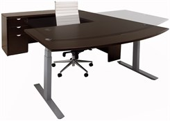 Electric Lift Adjustable Height Mocha U-Desk
