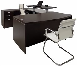 Electric Lift Adjustable Bridge Mocha U-Desk