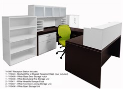 "Structures Reception Desks in Mocha/White - 66""x30"" Reception Desk"