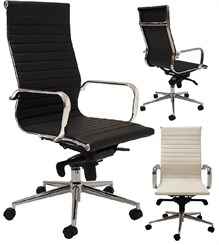 Modern Classic Design Office Chair in White Leather