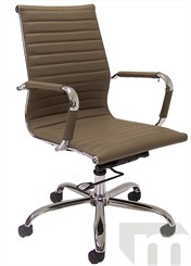Modern Classic Design Office Chair in Taupe Leather