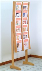 Modern Oak & Acrylic Magazine Display Rack