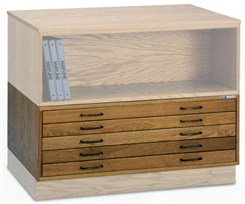 "Modular Wood Plan Files for 30"" x 42"" Sheets - Five-Drawer File"