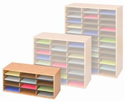 Economy Oak Finish Literature Organizers-- 12 Pocket Organizer