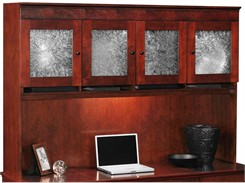 Overhead Storage Hutch w/Crackle Glass