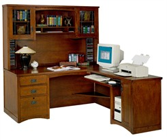 Mission Computer L-Desk with Hutch, Right Return