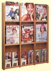 Oak & Acrylic Wall Racks -- 9 Magazine/18 Brochure Pocket Rack