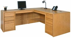 Oak Executive L-Desk w/ Left Computer Wing & CPU Space