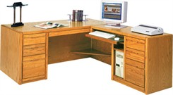 Oak Executive L-Desk w/ Right Computer Wing & CPU Space
