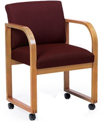 Oak Frame Conference/Guest Chair with Casters