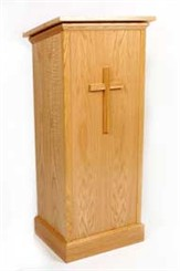 Oak Lectern with Cross Front