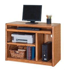 Oak Mobile Computer Cart
