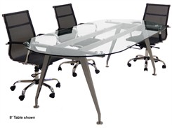 Oval Glass Conference Tables - 6' & 8' Sizes