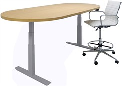 Oval Shape Adjustable Electric Lift Conference Table