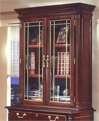 Overhead Storage Hutch w/Leaded Glass Doors