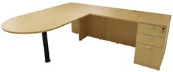 Maple Peninsula L-Shaped Desk