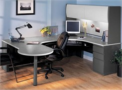 Peninsula U-Workstation with Hutch & Box/Box/File - Right Bridge