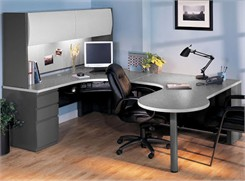 Peninsula U-Workstation with Hutch & Box/Box/File - Left Bridge