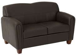Office Star Pillar - Espresso Faux Leather Love Seat