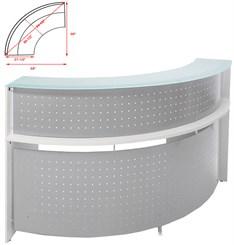 White 1/4 Round Glass Top Reception Desk