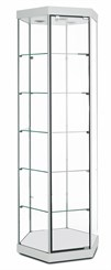 "77""H Hexagonal Tower Display Case w/Casters"