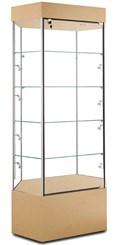 Hexagonal Corner Display Case w/Side Lights & Casters