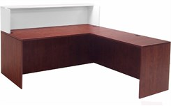 "Cherry/White 71"" L-Shaped Reception Desk with Desk Height Return"