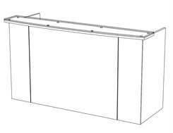 7-1/2'W Standing Height Glass Top Reception Desk
