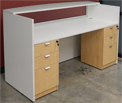 White & Woodgrain Rectangular Reception Desk