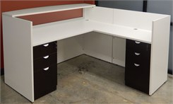 White & Woodgrain L-Shaped Reception Desk