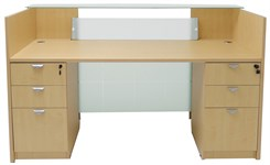 Glass Front Reception Desk w/6 Drawers