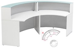 White 120° Curved Glass Top Reception Desk
