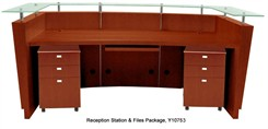 Glass Top Cherry Reception Station with 2 Matching Silver 3-Drawer Mobile Files