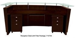Glass Top Walnut Reception Station with 2 Matching Silver 3-Drawer Mobile Files