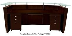 Glass Top Walnut Welcome Desk w/2 3-Drawer Files