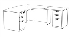 "Transitions 72"" Custom L-Shape Desk, Right Return"